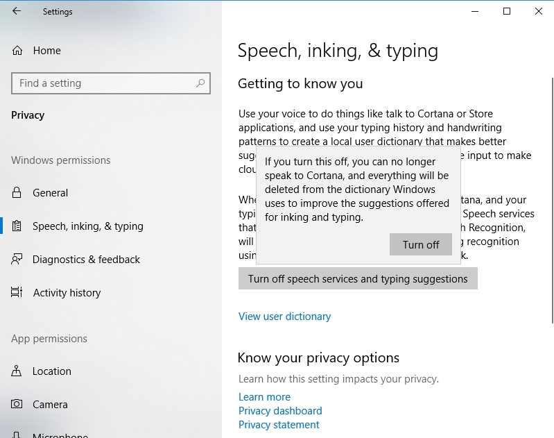 Disable speech services and typing suggestions.