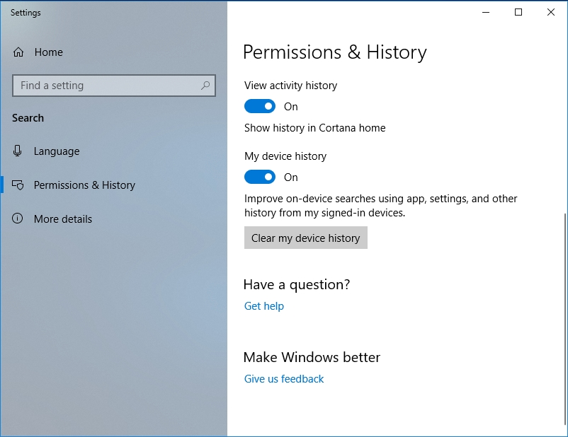 Click Clear my device history in Permissions&History