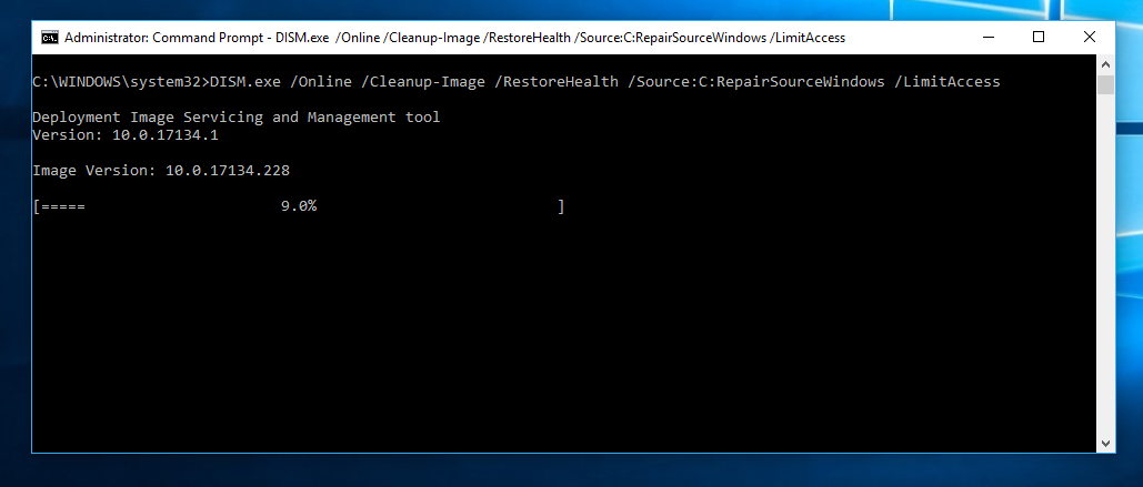 Type DISM.exe /Online /Cleanup-image /Restorehealth to run the DISM tool.