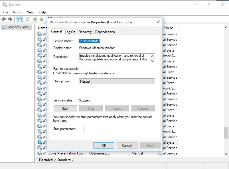 Set Windows Modules Installer startup type to manual.