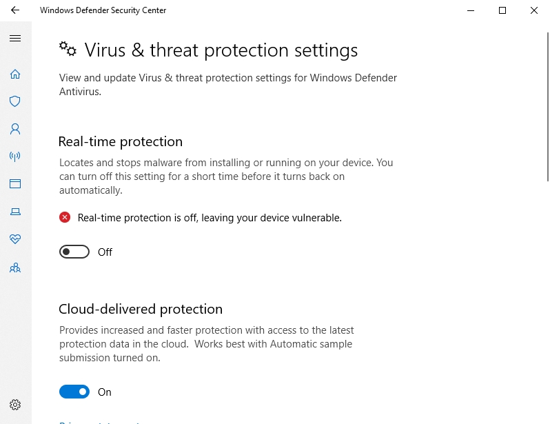 Disabling real-time protection settings is not recommendable.