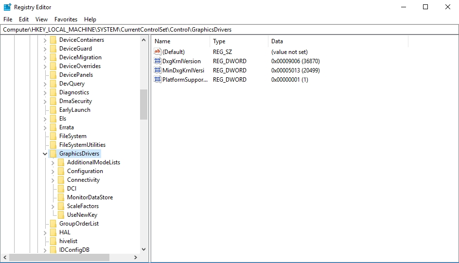 Go to HKEY_LOCAL_MACHINE > SYSTEM > CurrentControlSet > Control > GraphicsDrivers.