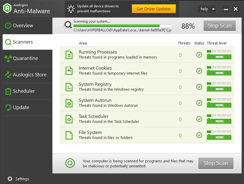 Scan your PC components with Auslogics Anti-Malware