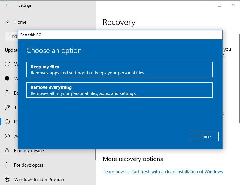 Make sure to select Keep my files.