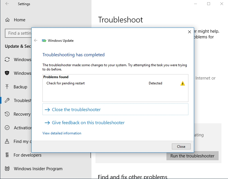 You will be reported about the problems the troubleshooter has found.