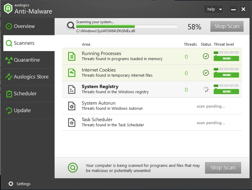 Auslogics Anti-Malware scans your system to detect malicious items.