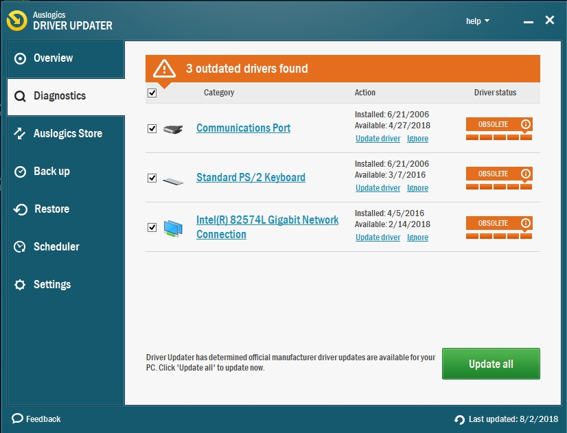 Check your drivers with Auslogics Driver Updater.