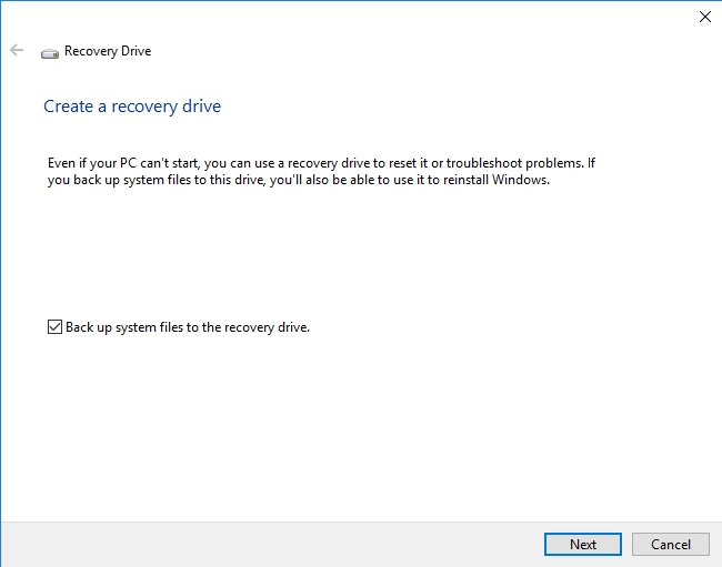 Create a restore drive to troubleshoot problems with your system.
