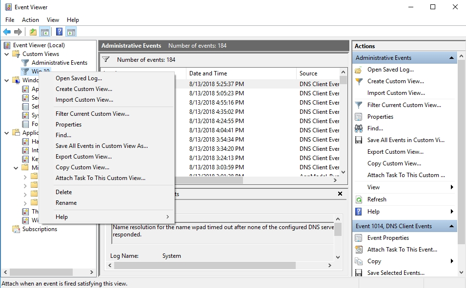 Browse Event Viewer to see what logs you can edit.