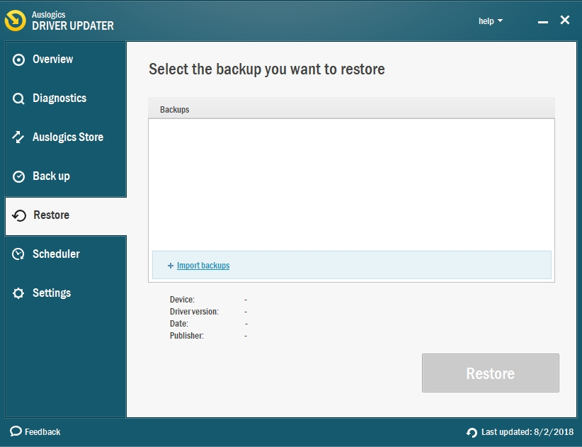 You can restore your previous drivers with Auslogics Driver Updater