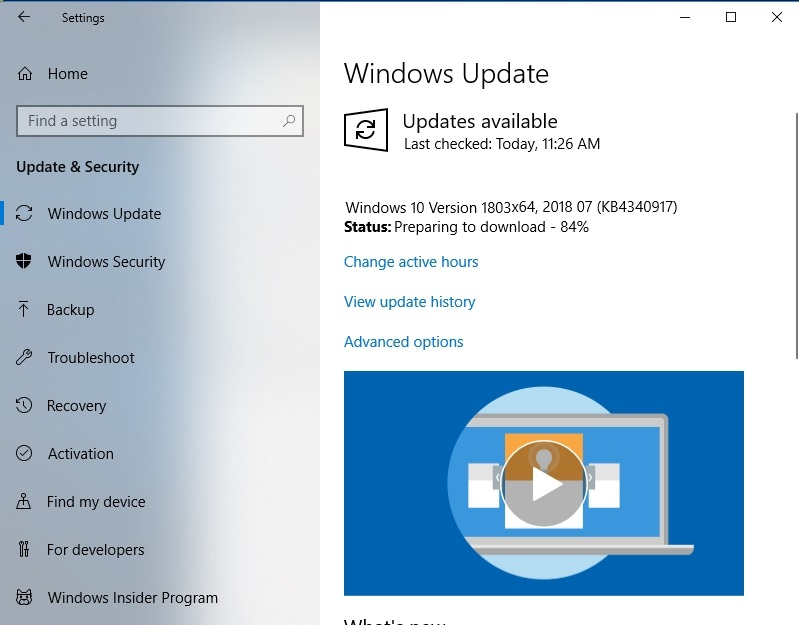 Check for available updates with Windows Update
