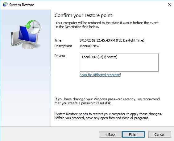 Confirm your restore point.