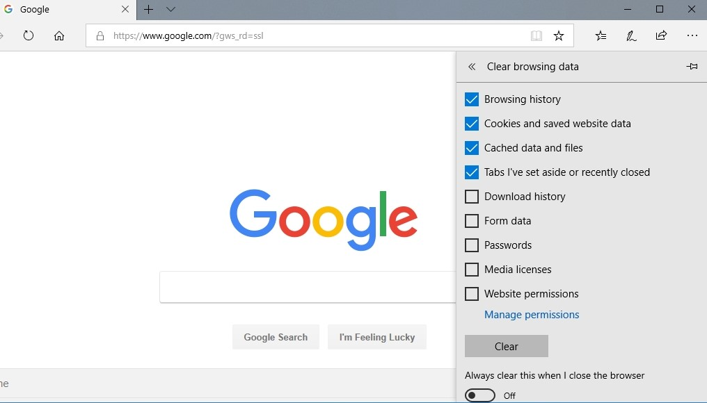 Clear your browsing data via Edge's settings.