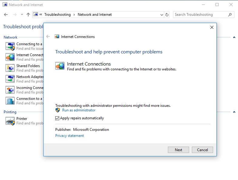 Troubleshoot your internet connections with Microsoft's built-in troubleshooter.