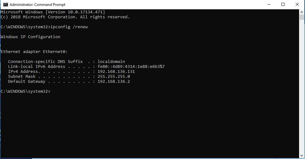 Type ipconfig /renew and hit Enter.