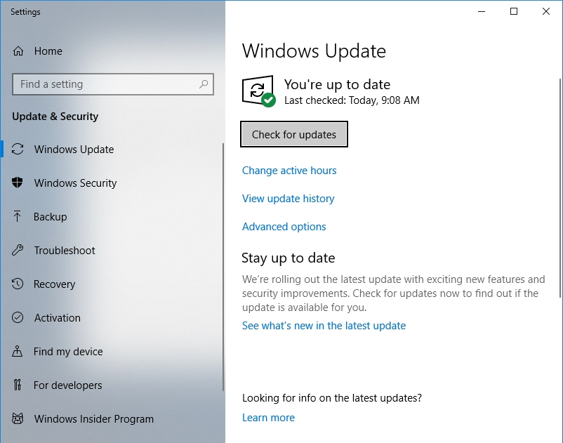 Click Check for updates to install the latest updates on your PC.