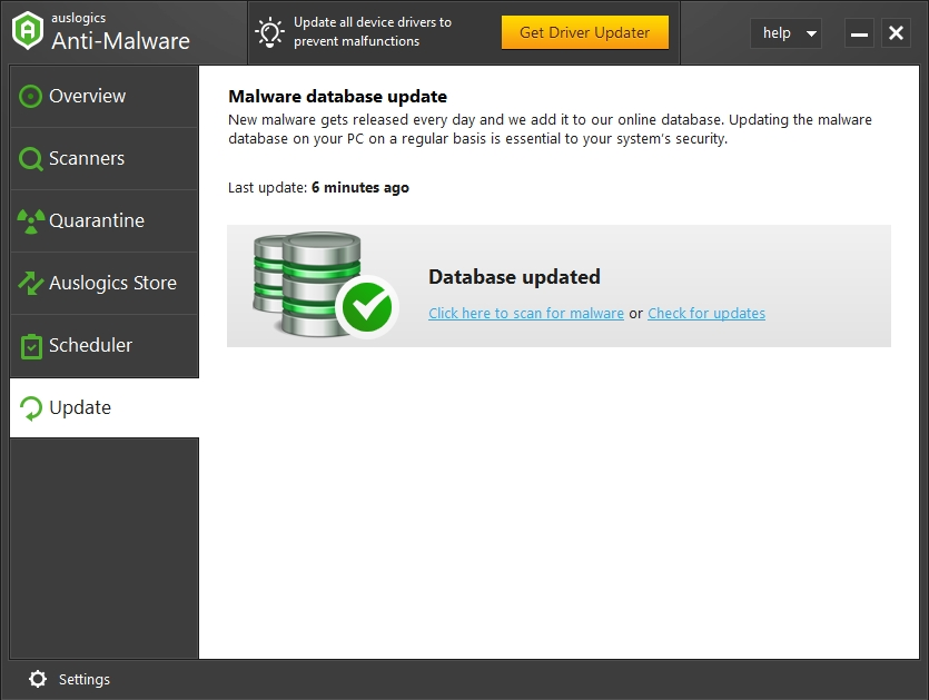 Your malware database is always updated.