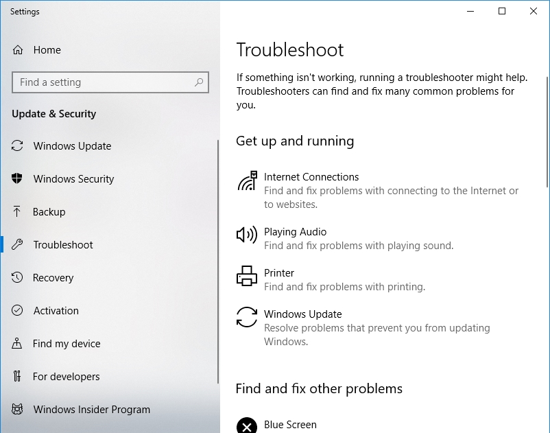 From the troubleshooters available, select Windows Update.