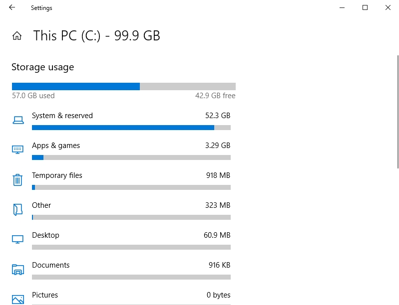 Examine the Storage usage of your PC