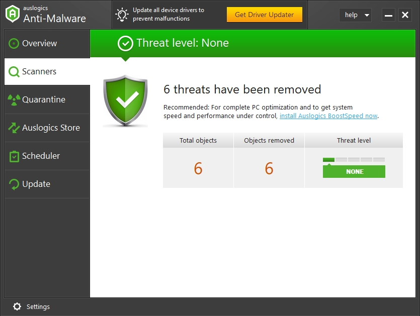 Remove all malicious entities from your PC with Auslogics Anti-Malware.
