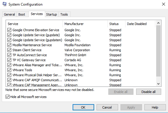 Disable all services to be able to clean boot your system.