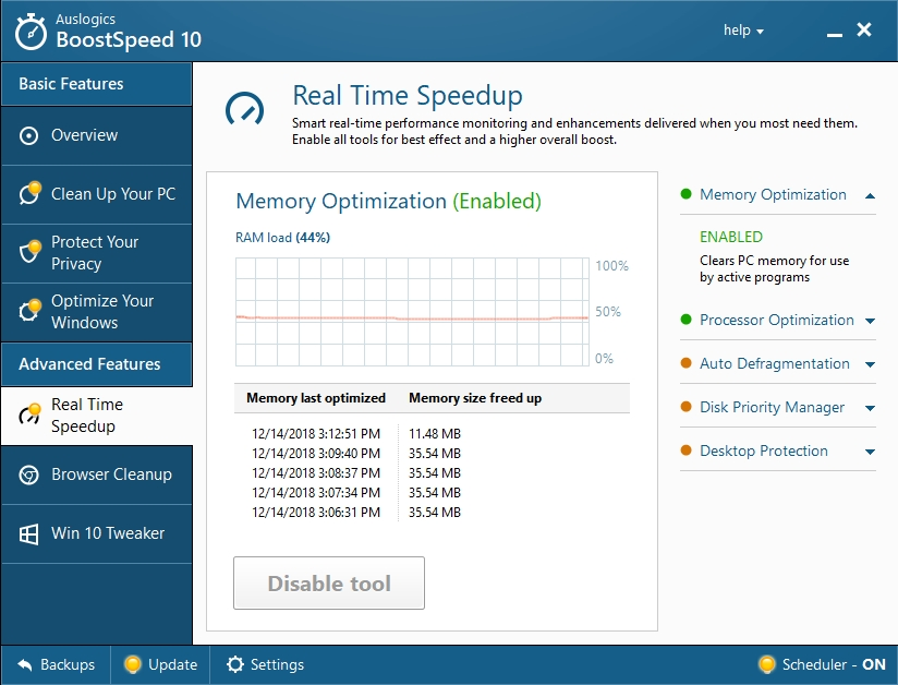 You can speed up your system in real time.