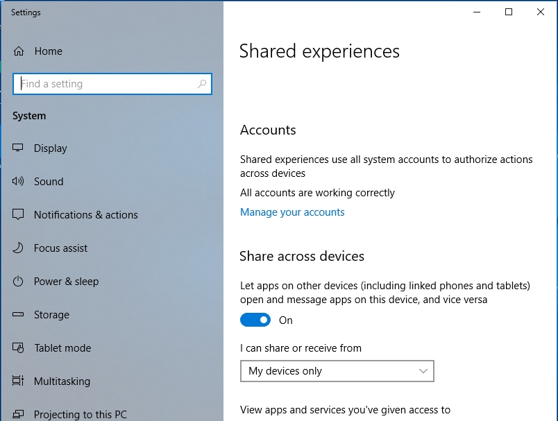 Access Shared Experiences to customize the feature's settings.