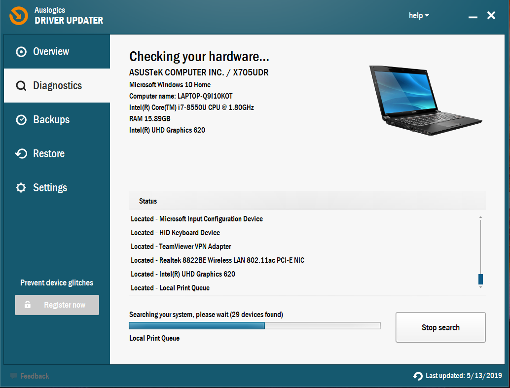 Auslogics Driver Updater will scan all your devices for driver issues.