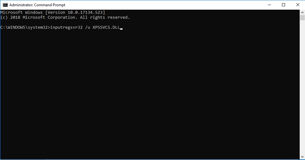 Type regsvr32 /u XPSSVCS.DLL and hit Enter.