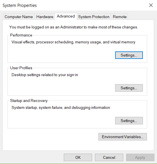 Click Settings under Startup and Recovery.