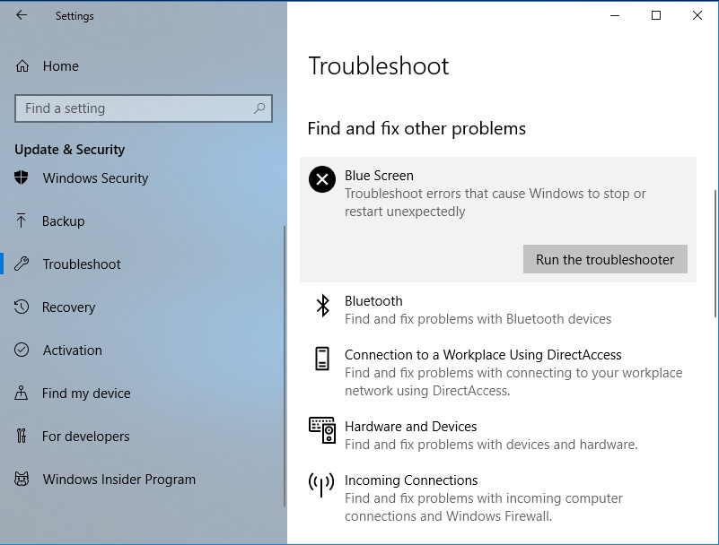 Select Run the troubleshooter under Blue Screen.