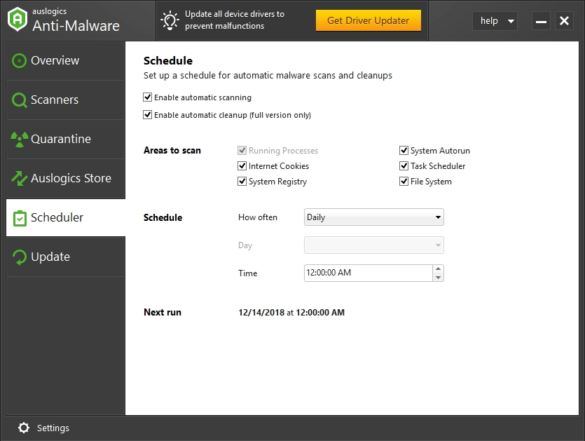 Schedule automatic scans to keep malware at bay.