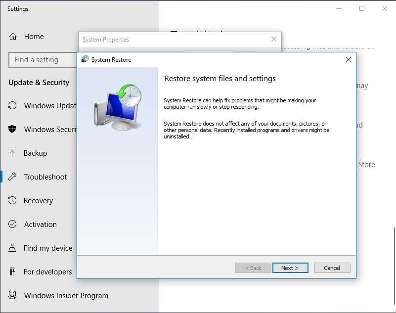 Restore your files and settings to a working state.