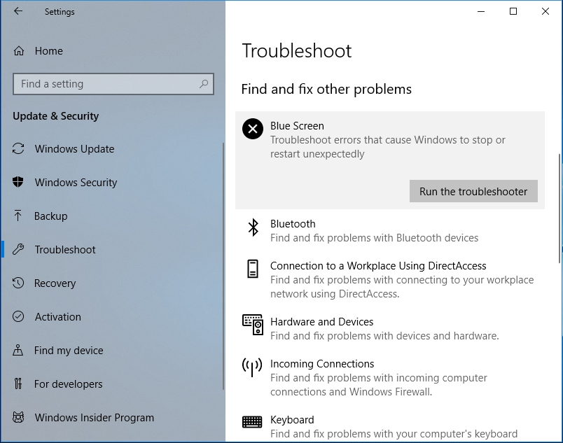 Click on Run the troubleshooter.