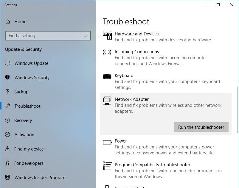 Click Run the troubleshooter under Network adapter.