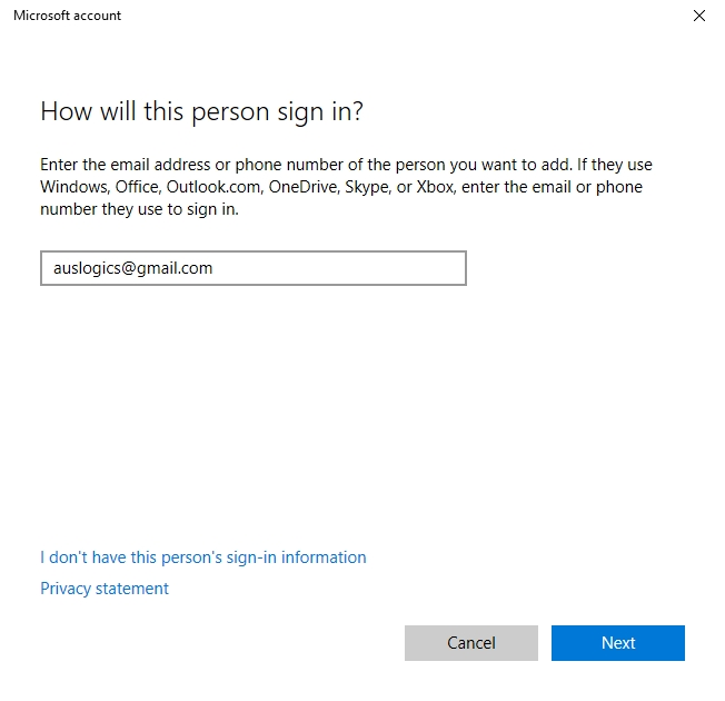 Key in your non-Microsoft email address.