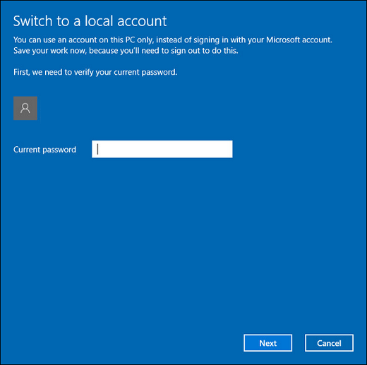 Switch to a local account.