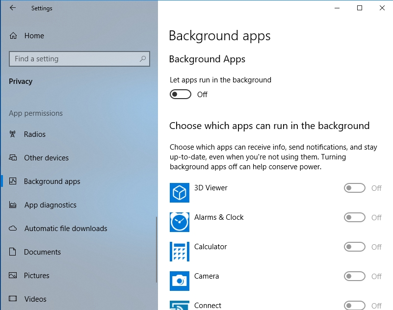 Prevent apps from running in the background.