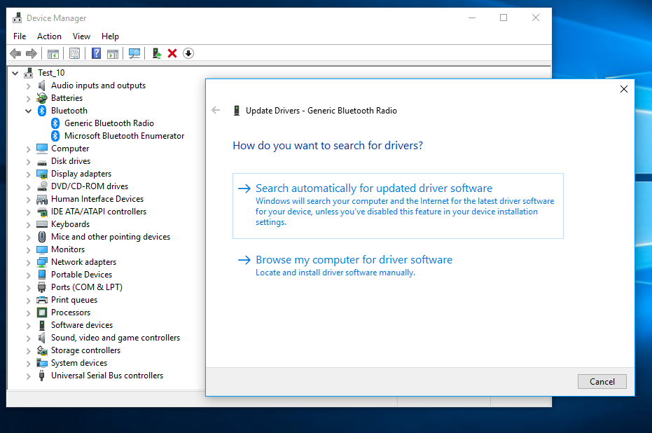 Get new Bluetooth drivers online.