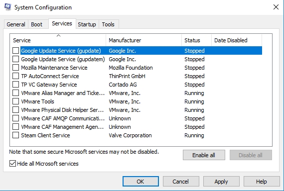 Check Hide all Microsoft services and click Disable all.