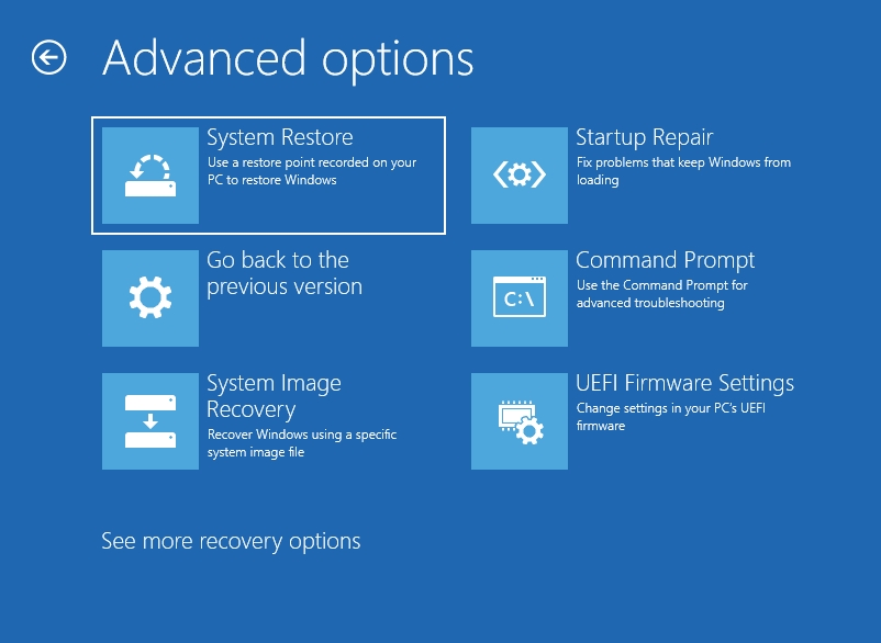In Advanced Options, select Startup Repair.