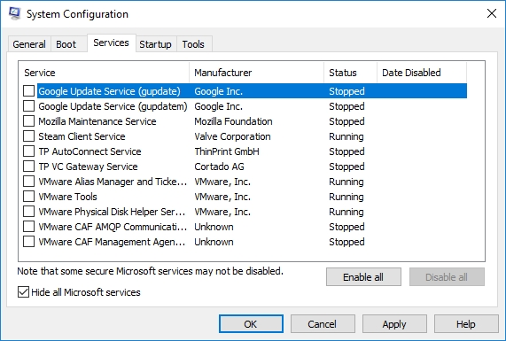 Check Hide all Microsoft services and then click Disable all.