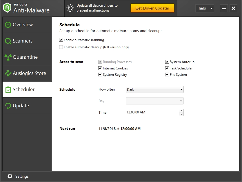 Schedule anti-malware scans on your PC.