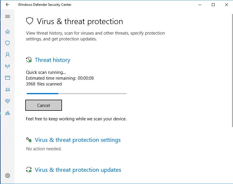 Force Windows Defender to scan your PC for malware.