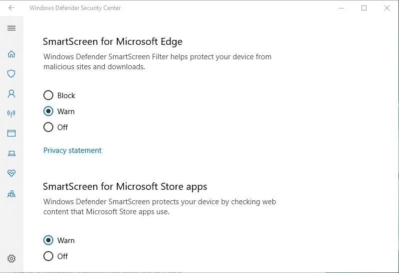Set SmartScreen settings to Warn.