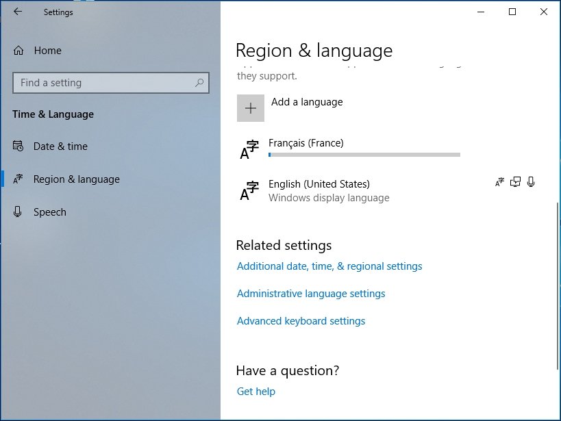 Enter Region and Language and click Add a language.