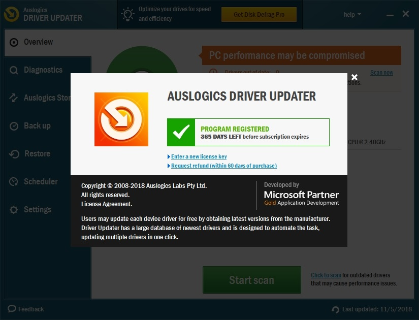 Register Auslogics Driver Updater to run it and get all your driver issues resolved